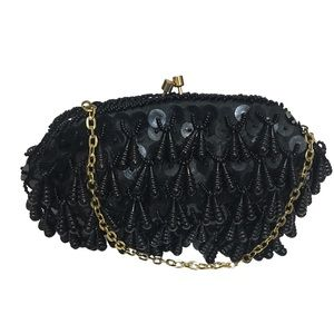 Vtg teardrop beaded - sequined evening bag